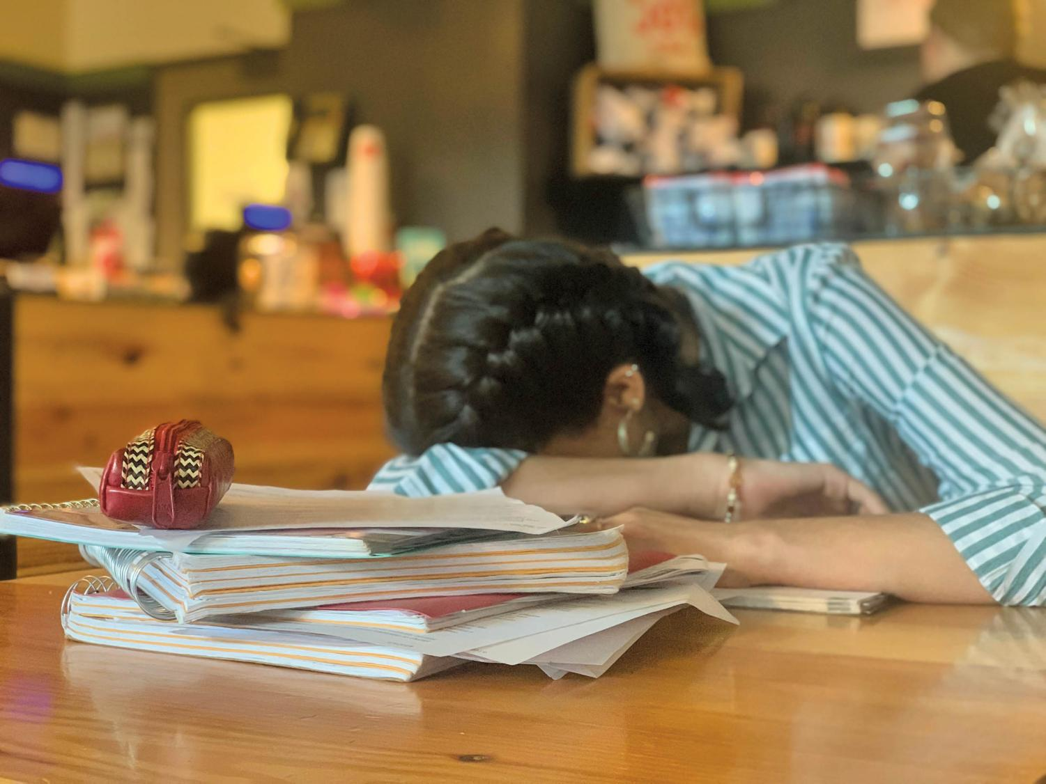Students struggle to juggle coursework, jobs, internships, and involvement in student organizations. Stress levels increase as the semester comes to a close.