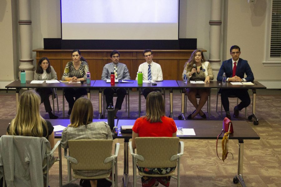 2019 SGA candidates debated to introduce their platforms. Voting begins April 8.