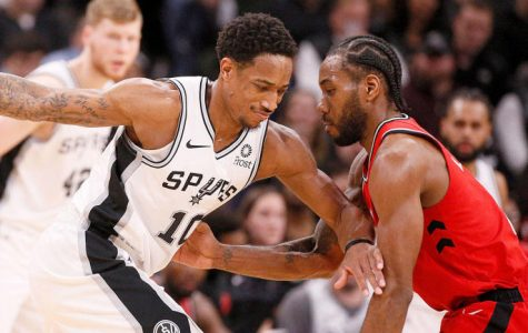 Kawhi Leonard (right) and Spurs shooting guard Danny Green were both traded to Toronto for Raptors shooting guard DeMar DeRozan (left)