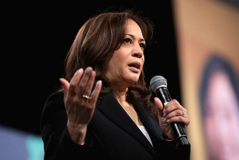 Kamala Harris speaks at the 2019 National Forum on Wages and Working People in April 2019. At the debate, Harris challenged Former Vice President Joe Biden on his previous work with segregationist politicians.