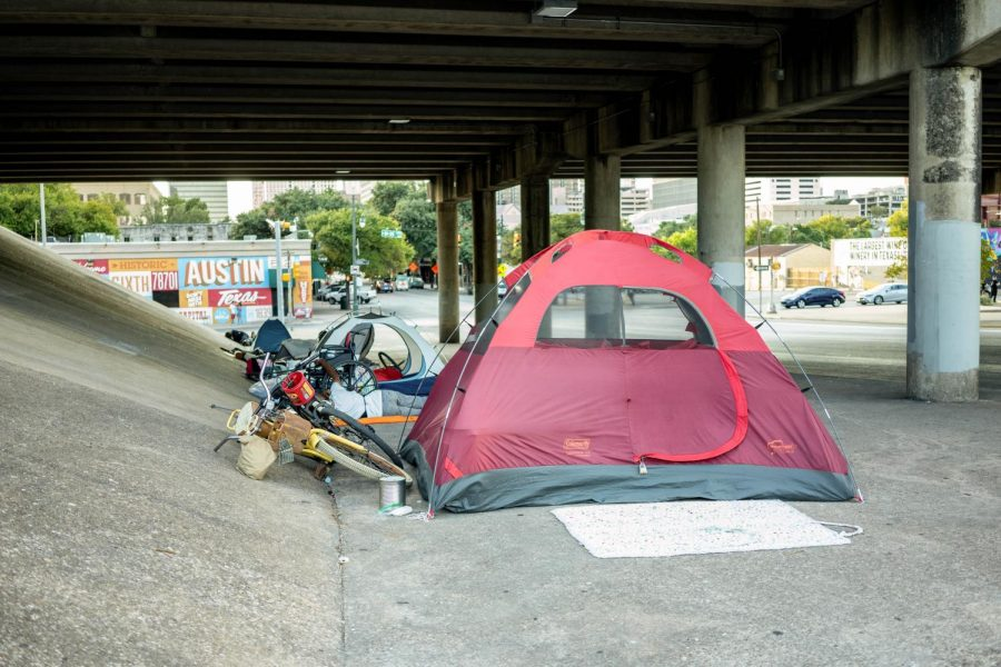 Many tents where Austin's homeless population resides are located in various underpasses near downtown.