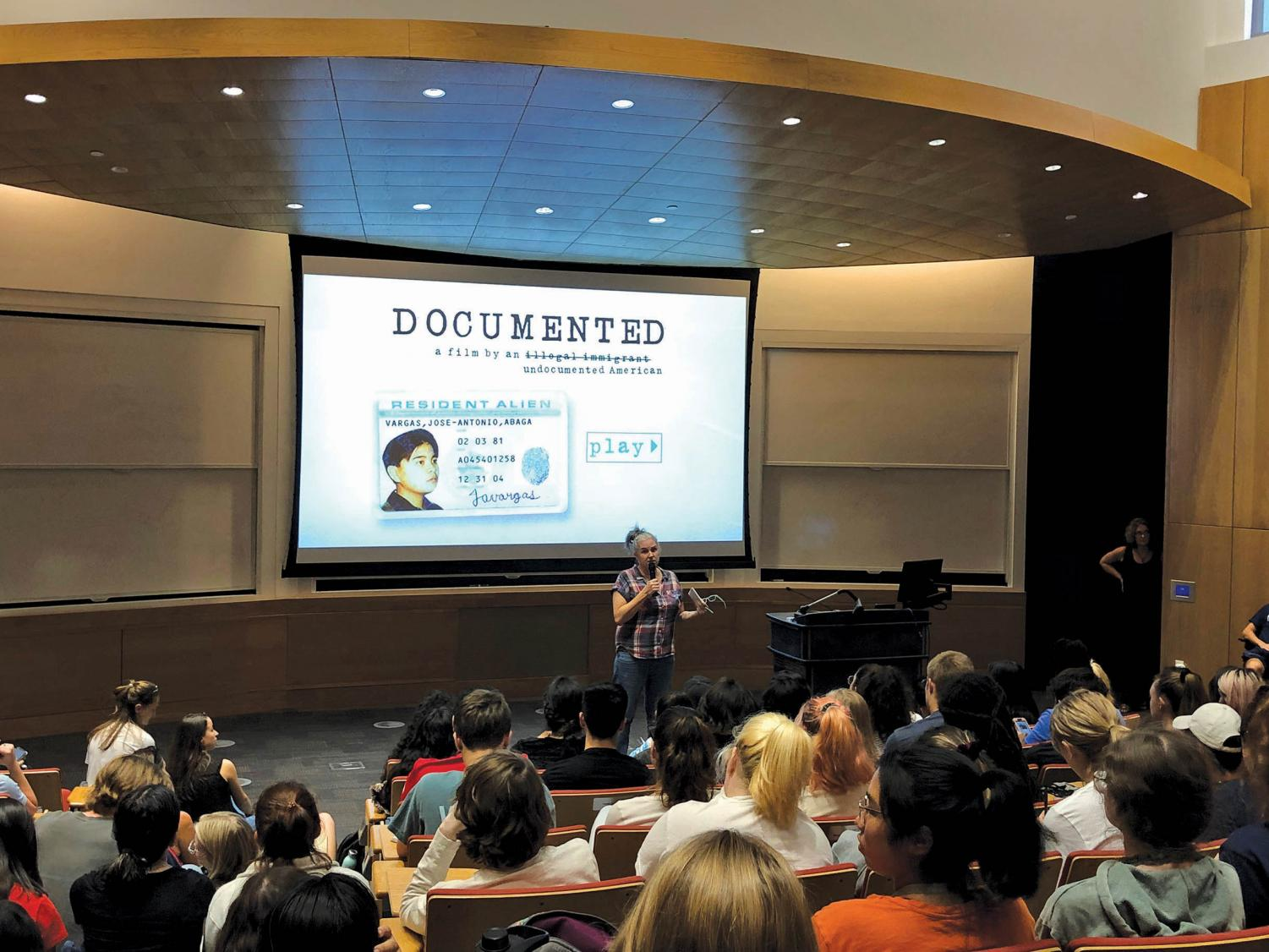 Freshman students were  invited to a viewing of Jose Antonio Vargas' documentary which is  also based on his book. The film deals with his struggles of immigration, which was the common theme chosen for this year's freshman class.