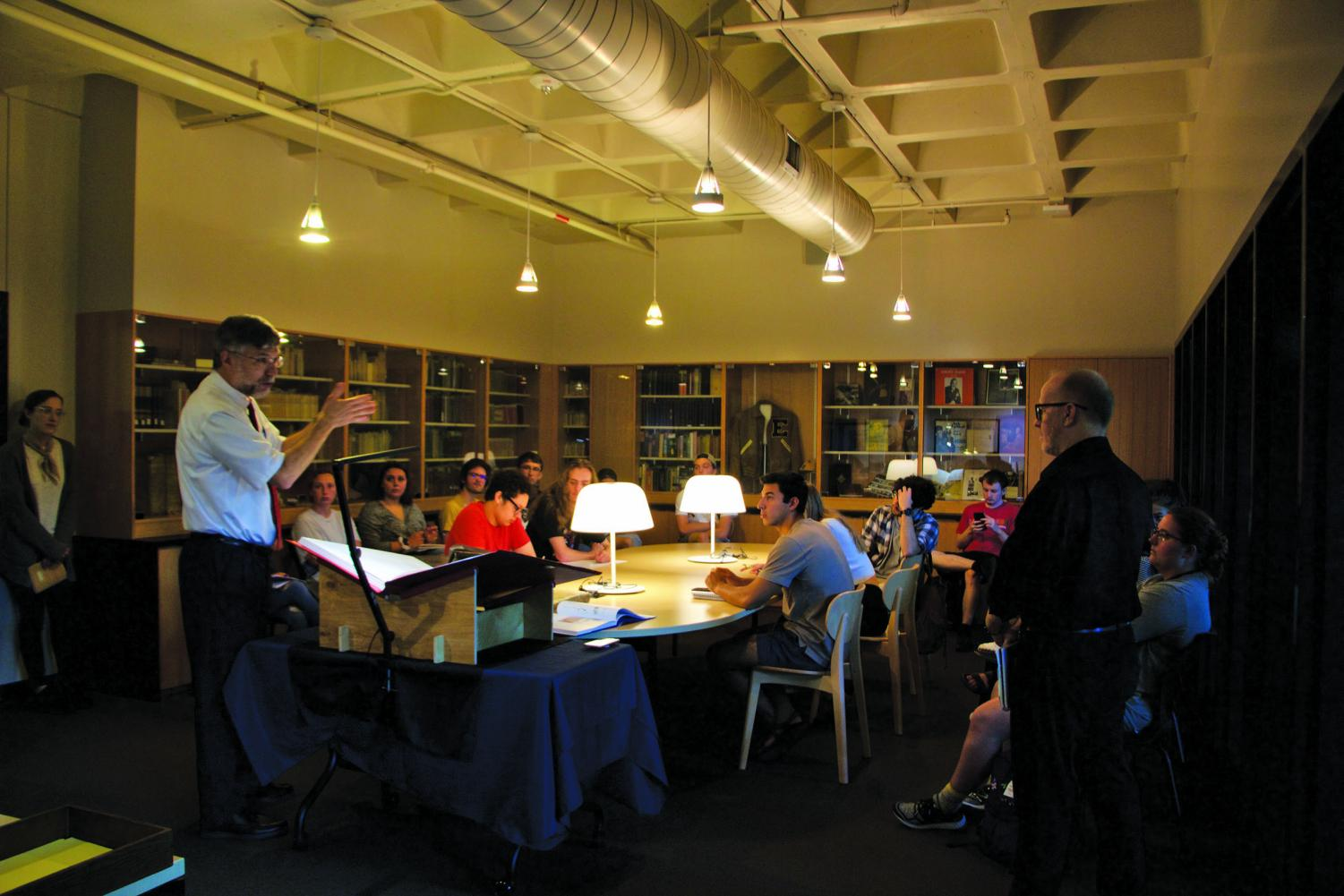 Students gathered in the Munday Library to witness the unveiling of the newly gifted St. John's Bible. The original copy was completed back in 2011.