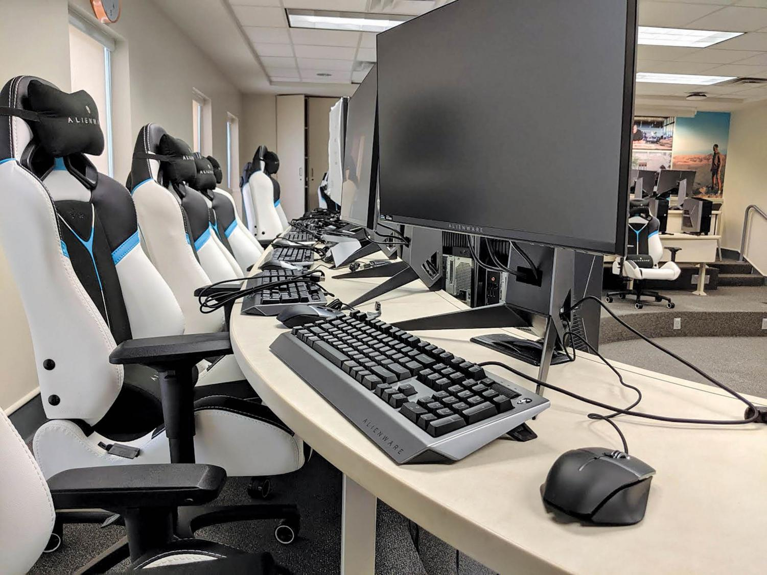 High-tech training facilities stocked with new gaming equipment like monitors and chairs. Gaming competitions are expected to begin in spring of 2020.