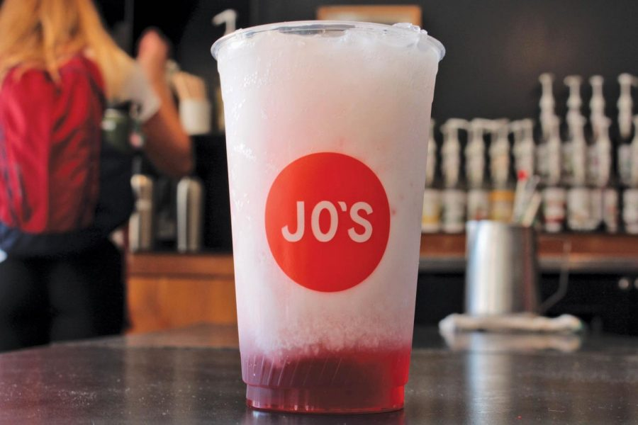 The Strawberry Italian Soda with Creme is a refreshing summer drink that can be enjoyed well into the fall. Jo's Coffee Shop sells this and a variety of other drinks throughout the year.