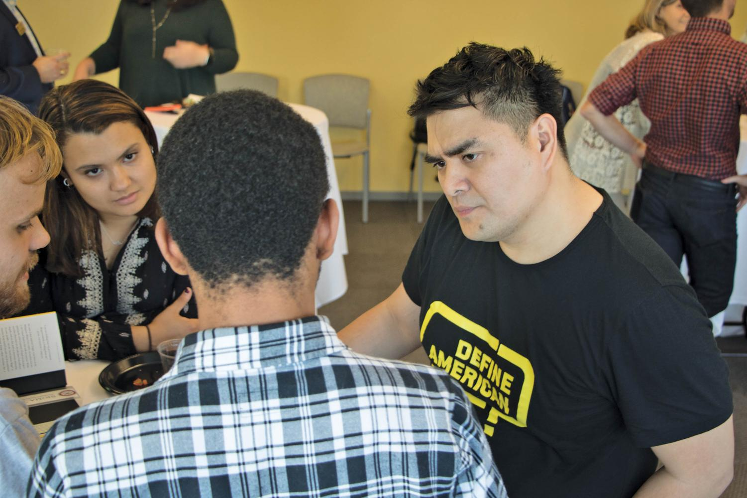 Award-winning journalist Jose Antonio Vargas speaks to students at the event. Vargas is the author of