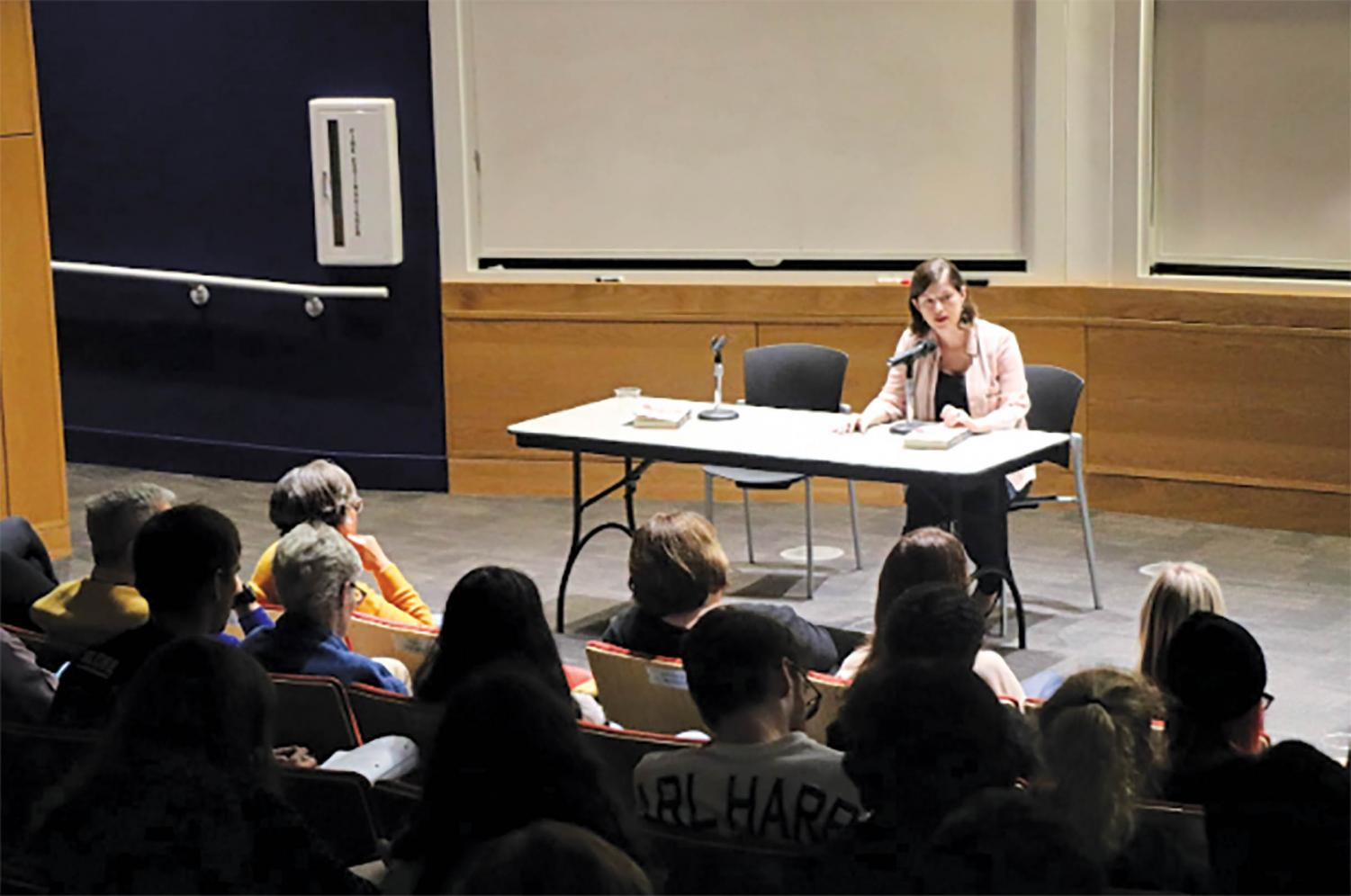 Jennifer duBois speaks to students in Carter Auditorium about all things writing. Along with being an award-winning author, duBois also teaches at Texas State University in the Masters of Fine Arts program.
