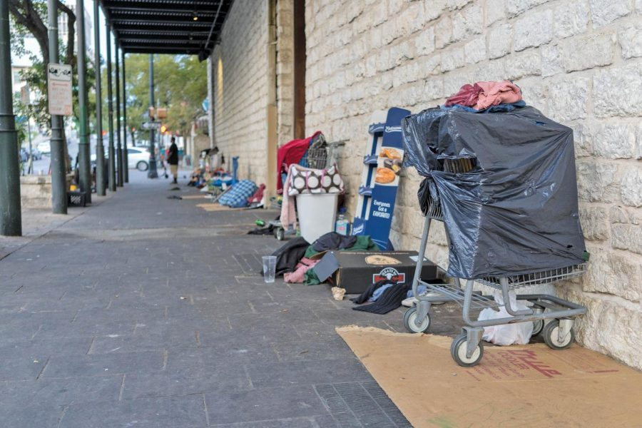 Many homeless encampments, such as this one on Trinity and 6th Street, are located in Downtown Austin. The city's homeless population has grown 28.2% from 2013 to 2018.