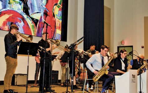 "The Steady Jazz ensemble performs under the direction of professor Joey Colarusso. ""This is my 13th year as director of Steady. I love working with these students. The people in this group are just magical and it's a lot of fun,"" Colarusso says."