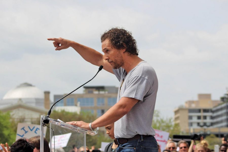 Matthew+McConaughey+is+no+stranger+to+public+protest.+He+was+a+big+part+of+2018%E2%80%99s+March+For+Our+Life%2C+where+he+advocated+for+common+sense+gun+legislation.+