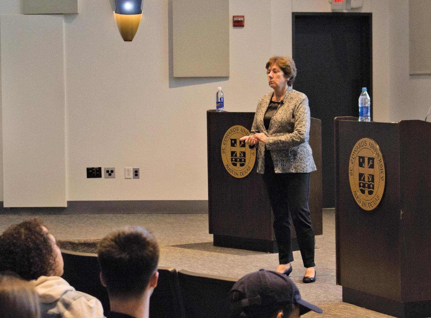 """Eder speaks to students about her theory of an """"information apocalypse"""" as it relates to how news is spread. The event was held in Jones Auditorium in Ragsdale Center."""