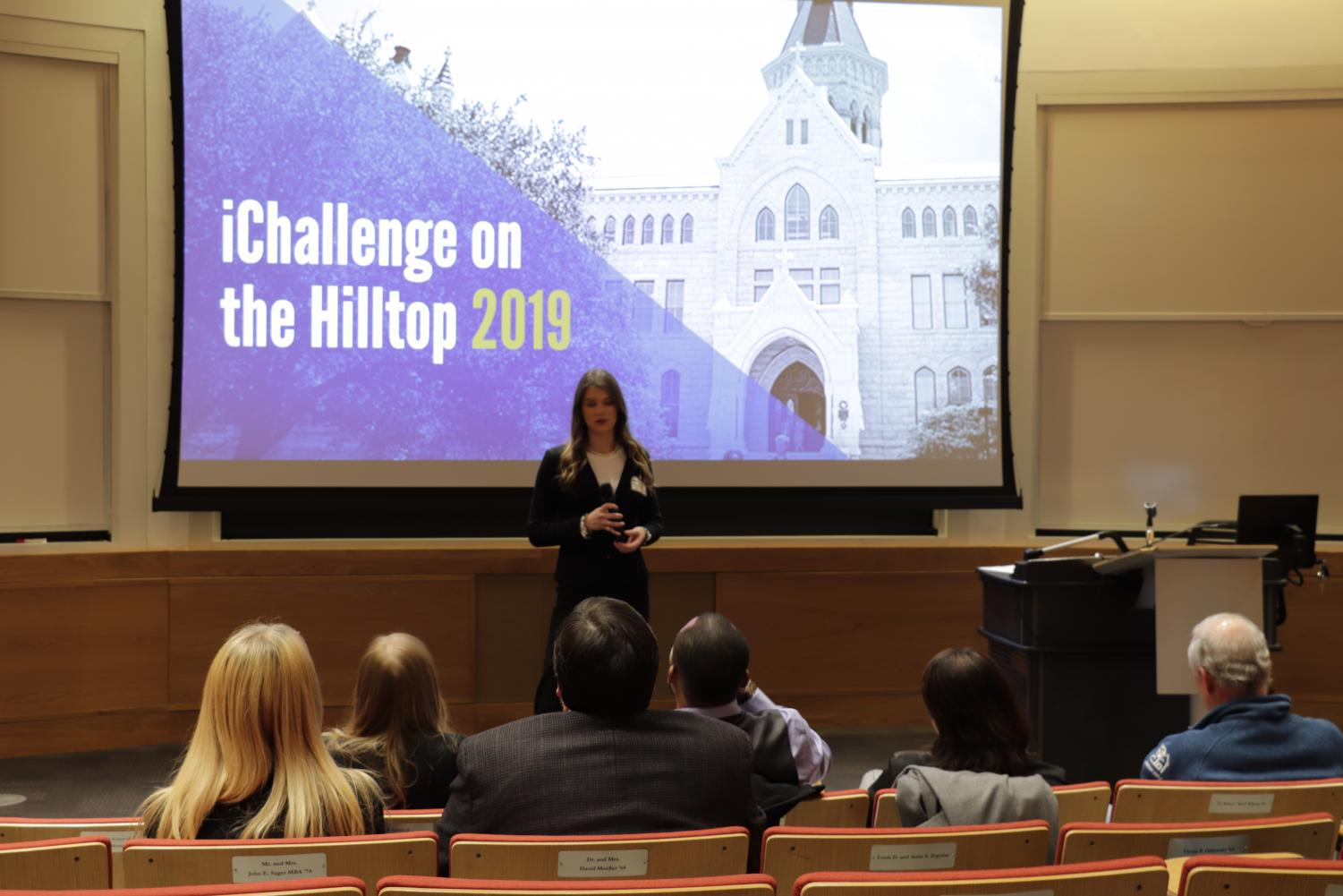 Rachel Davis presents her idea to attendees at the iChallenge event in Carter Auditorium. Davis won first place in the competition with her idea for face recognition on handguns.