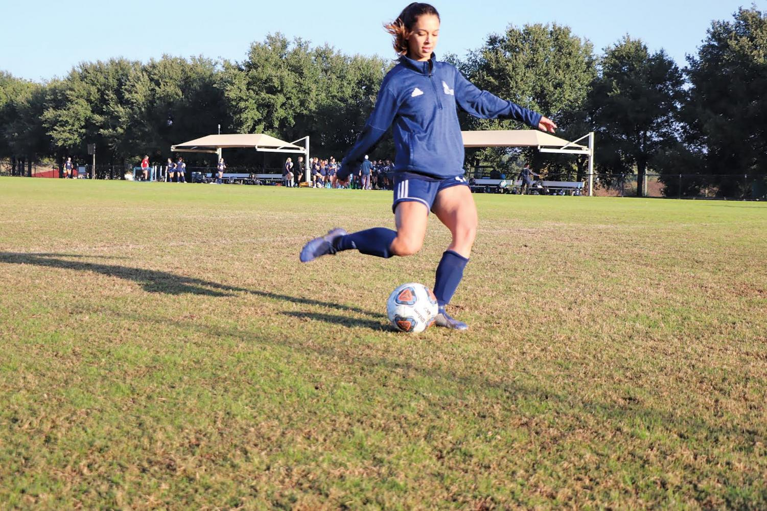 Elianna Chavez practices in preparation for this week's matchup with Angelo State. The midfielder recently earned the Lone Star Conference Offensive Player of the Week.