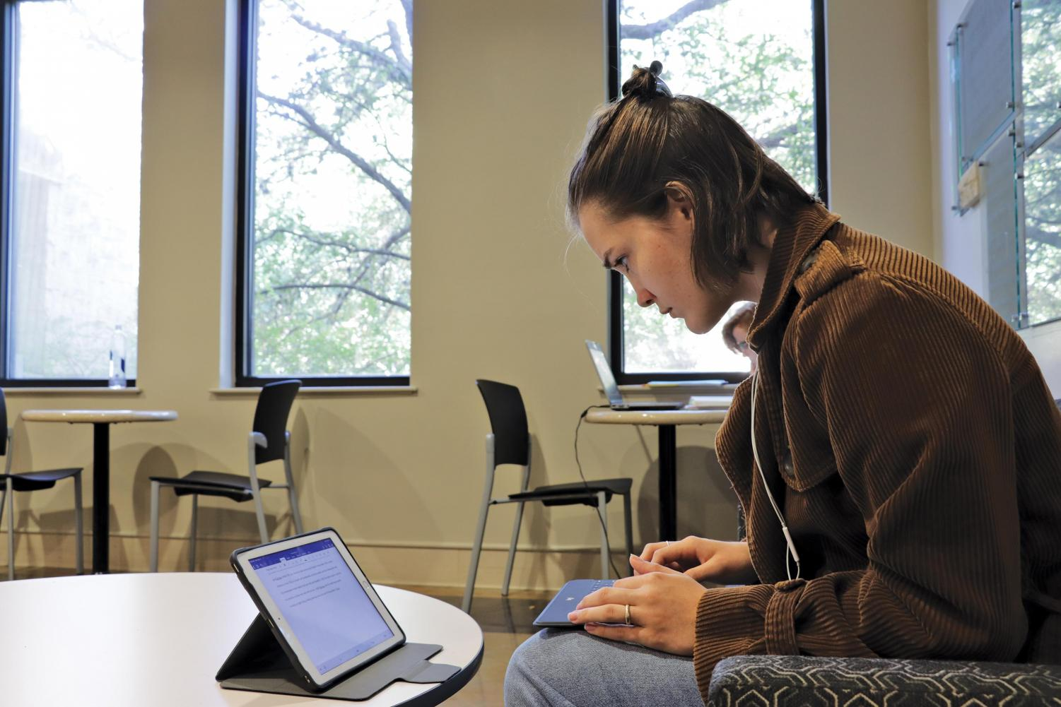 A St. Edward's student studies on the second floor of Ragsdale. College readiness, according to the ACT, SAT and its equivalents is measured by whether or not students meet or exceed the standard passing score for these college entrance exams.