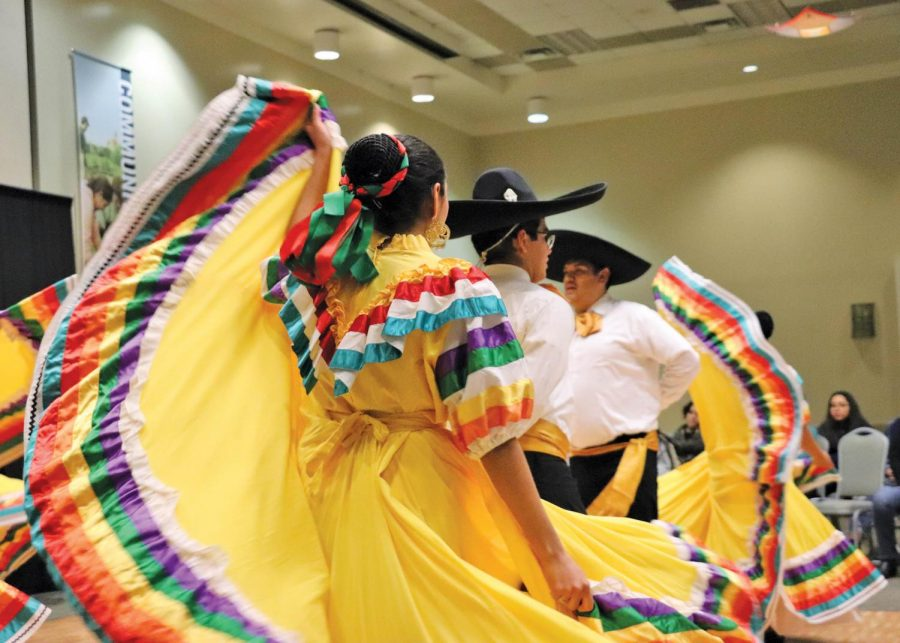 Performers+dance+in+the+style+of+Jalisco.+The+SEU+Ballet+Folklorico+performs+both+locally+and+out-of-state+and+recently+received+first+place+in+a+San+Antonio+competition.