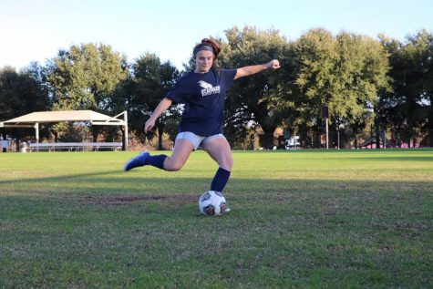 Sophomore forward Sarah Gunderson does some kicking drills during a morning practice. Gunderson earned LSC All-Tournament Honors and Raising Cane