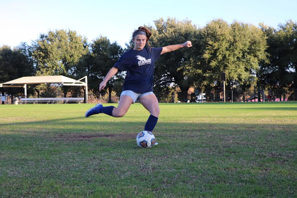 Sophomore forward Sarah Gunderson does some kicking drills during a morning practice. Gunderson earned LSC All-Tournament Honors and Raising Cane's Player of the Week to wrap up a great season.