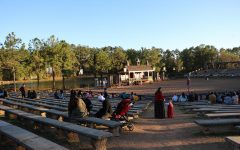 As evening approaches, visitors gather at the jousting arena to secure a seat for the SolarRain fire performance. The arena is also an ideal spot to watch the firework display that closes out the night.