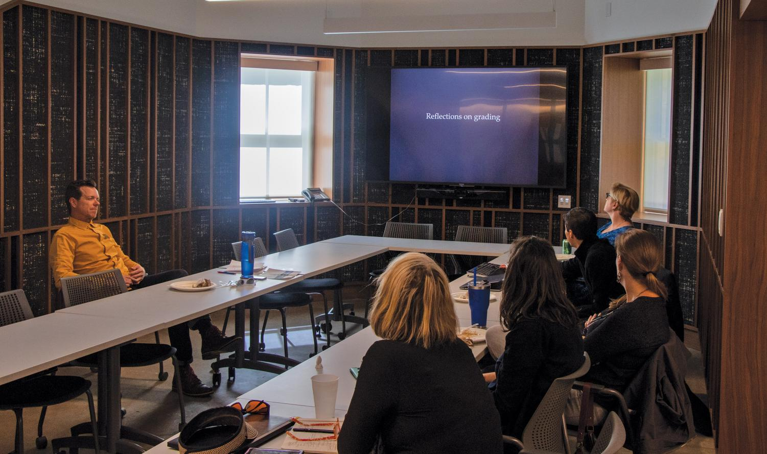 Professors gathered for a panel on inclusivity in grading on Friday Feb. 8. Among those in attendance were Kris Sloan, Santiago Toledo and others.