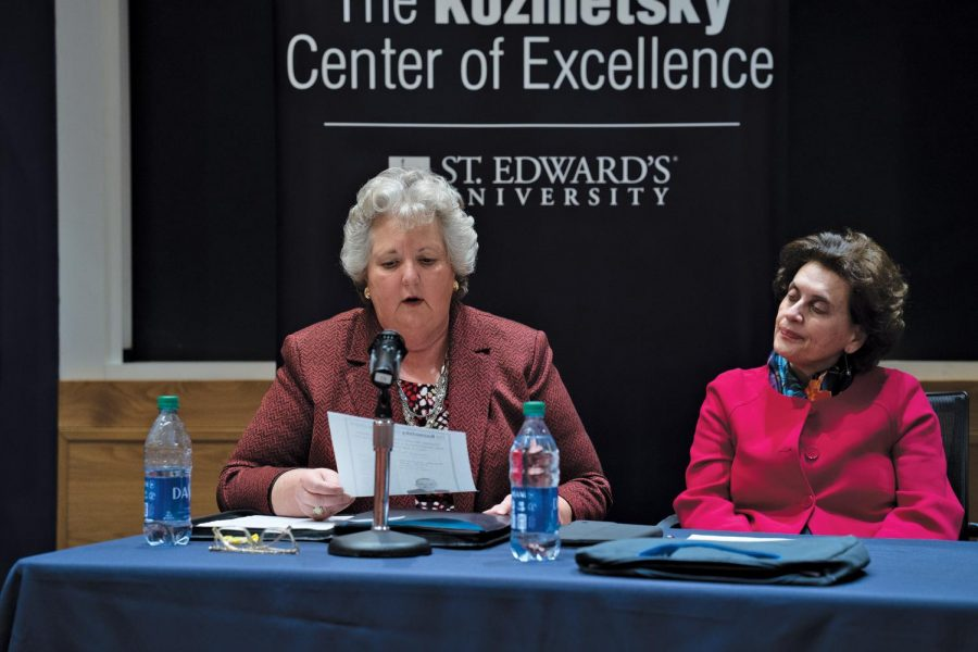 The Kozmetsky Center of Excellence featured speakers including Despina Afentouli of NATO and Father Louis Brusatti, Professor Emeritus of Religious Studies at St. Edward's. The panel discussion is one of many coordinated by the Kozmetsky Center throughout the semester.