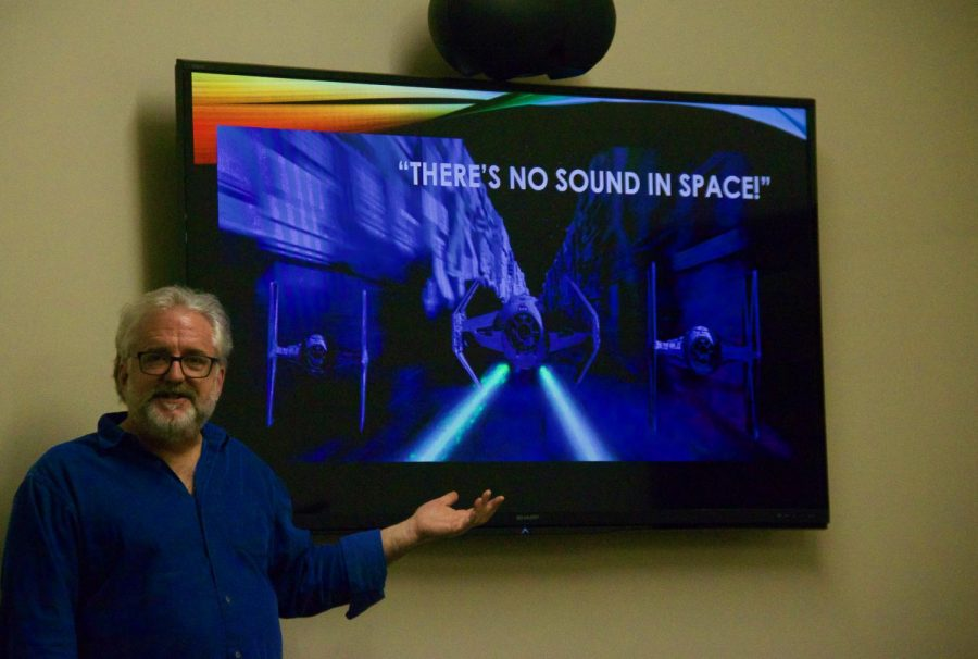 Professor+Bryant+shared+his+love+of+science+fiction+with+the+audience+at+the+first+SciPops+event+of+the+semester.+The+event+took+place+at+Munday+Library+on+Feb+5.