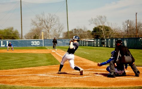Junior catcher Hunter Torrez hits a sacrifice fly in the sixth inning of Friday's victory over St. Mary's. So far this season, Torrez is batting .250 and is a leader in RBIs this season with nine.