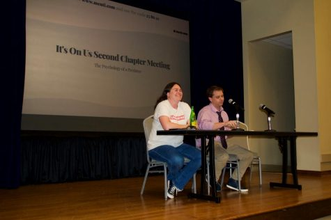 Professor of psychology, Delia Paskos, and associate professor of social work Adam McCormick answer students questions on a panel at the second It