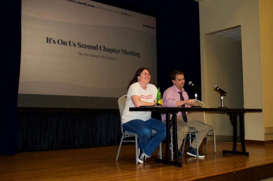 Professor of psychology, Delia Paskos, and associate professor of social work Adam McCormick answer students questions on a panel at the second It's On Us chapter meeting, which addressed topics such as the psychology of a predator.
