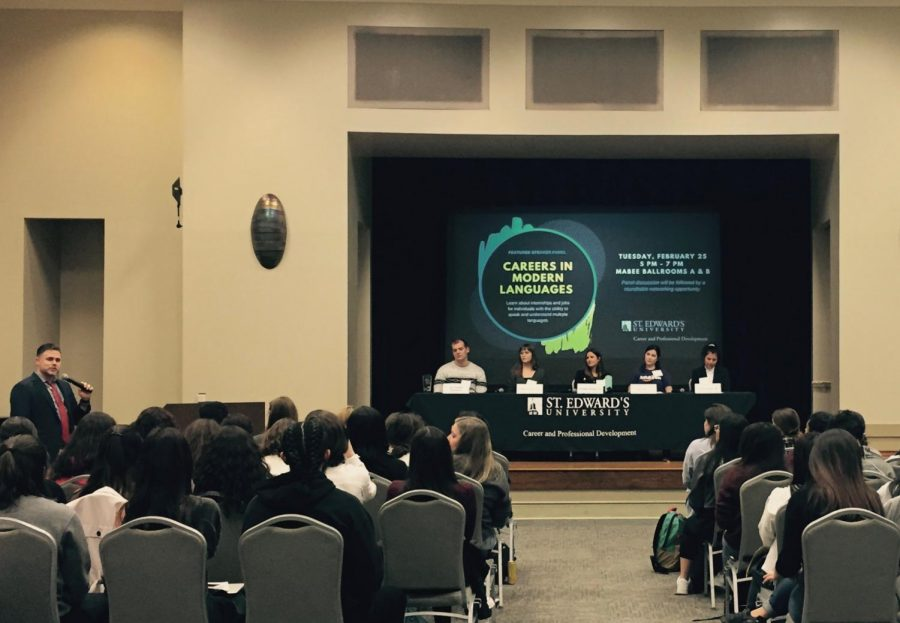 The panelists answered questions from the Career and Professional Development Office during the event. Afterwards, panelists were able to network with students.