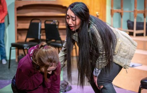 Payton Russell (left) and Bianca Ibarra perform a scene in 'good friday.' The production featured an all-female cast and crew.