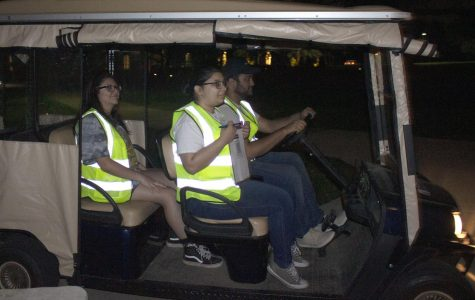 SafeWalkSEU offers rides to students from 8:30 p.m. to 12:30 a.m. Pictured are SafeWalk volunteers (l-r) Jazel Pineda, Denise Mares and Dylan Desai arriving at a pickup site.