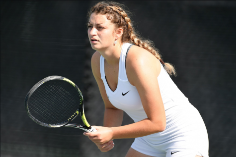 Sophomore Kate Malazonia was set to make a big leap this spring as she was named ITA Region Rookie of the Year and All-Heartland First Team last season.