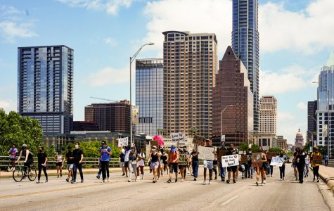 Protestors march down South Congress Avenue during a Black Lives Matter protest. These worldwide protests began in response to the murder of George Floyd in Minneapolis.