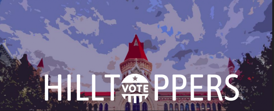 Hilltoppers+Vote+promotes+2020+election+coverage+in+the+newsroom.+The+coverage+will+focus+on+what+the+St.+Edwards+community+looks+for+in+candidates.