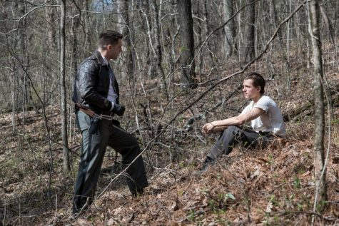 Stan (left) as Lee and Holland as Arvin face off in the climax of the film. Though set in Ohio and Virginia, filming took place across Alabama.