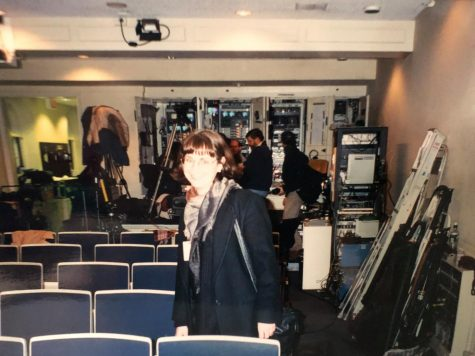 Professor Jena Heath in the White House Press Briefing Room in 2000. Jena Heath is an associate professor in the School of Arts and Humanities at St. Edward
