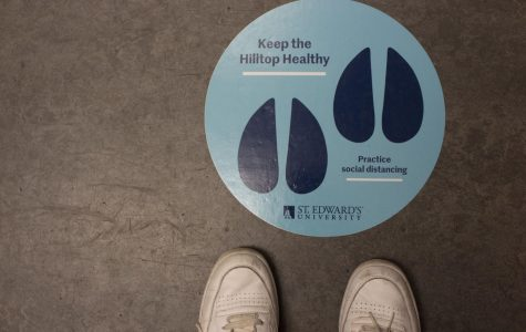 St. Edward's has implemented multiple stickers in elevators and buildings to promote social distancing. Other measures like required face masks, have been set in place.