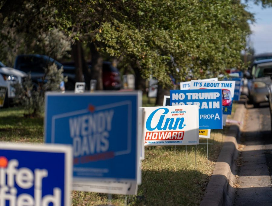 Democratic candidate yard signs line streets in south Austin. Early voting continues through Friday, Oct. 30.