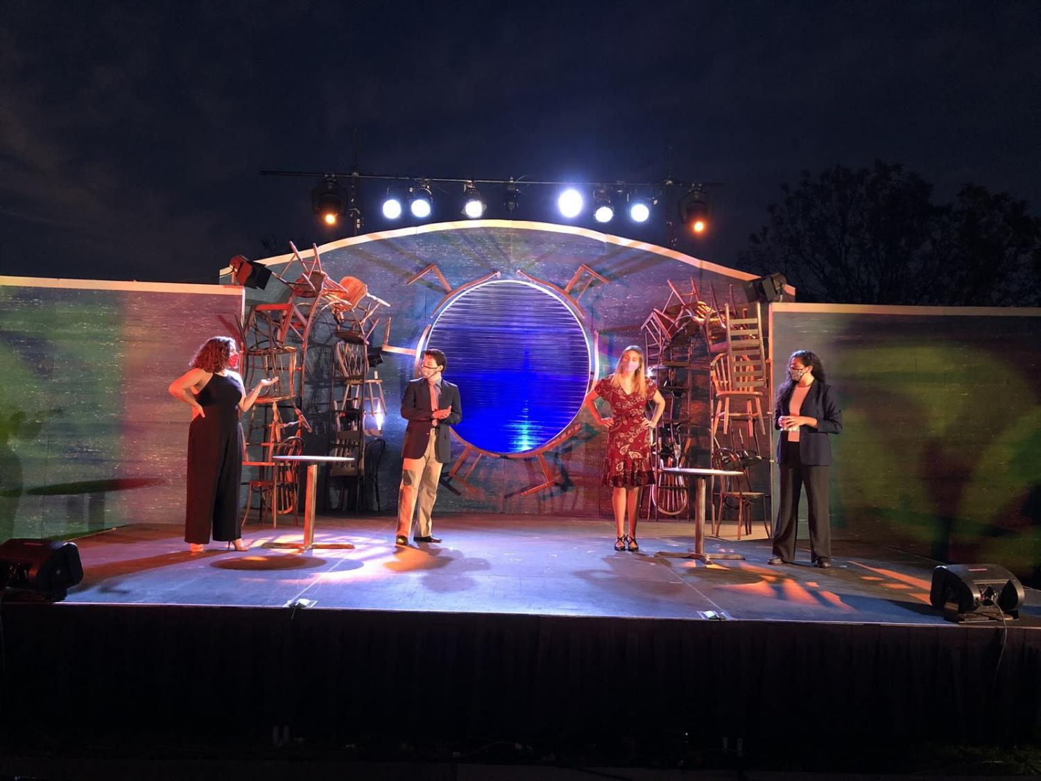 All performances were socially distant and would take place after the sun went down, allowing for lights and specials to be seen on both the actors and the set.