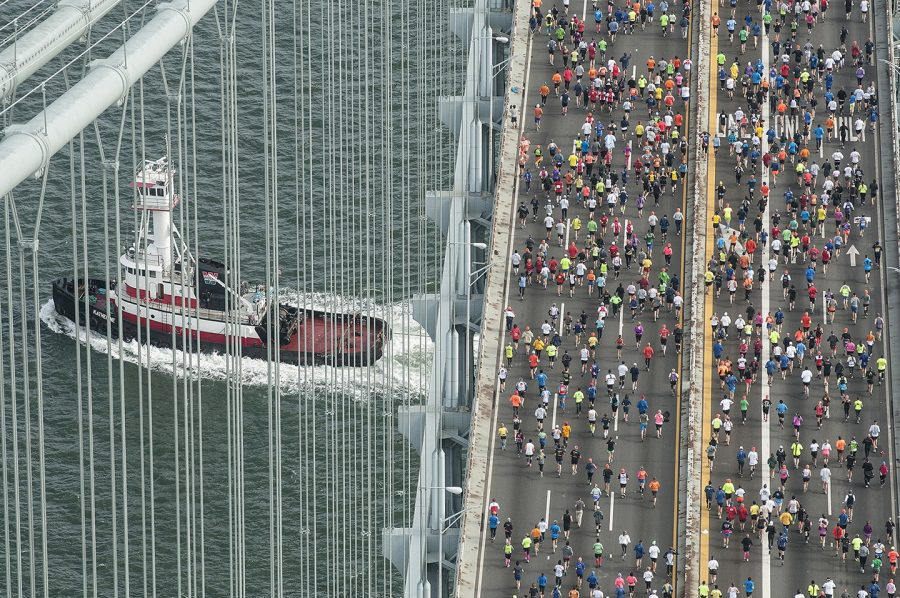 An aerial shot taken on Sunday, November 3, 2013, when the Verrazano-Narrows Bridge hosted the first mile of the New York City Marathon. This year's race in the same location was cancelled, suffering the same fate as many others due to the ongoing impacts of COVID-19.