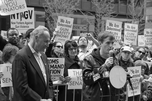 Steve Barton gives a speech at the New York Gun Safety Rally. Barton survived the theatre shooting in Aurora, Colorado.