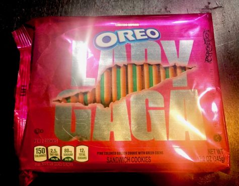 "Lady Gaga teamed up with Oreos to launch a ""Chromatica""-themed cookie to celebrate her latest album. The cookies are pink, green and vegan."