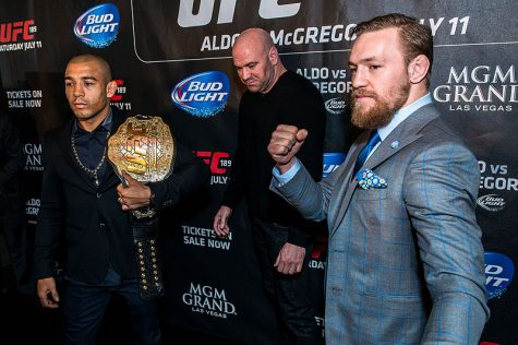 McGregor (right), Dana White (middle) and José Aldo (left) in London as part of the World Tour promoting UFC 189 in March 2015. The Irishman