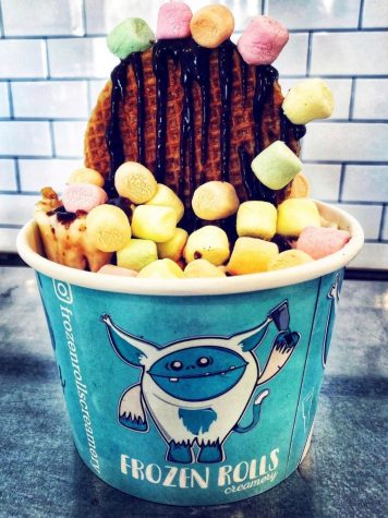 """Rolled ice cream originated in Thailand and is sometimes referred to as """"stir-fried ice cream."""" Frozen Rolls Creamery specializes in rolled ice cream, and offers a variety of flavors."""