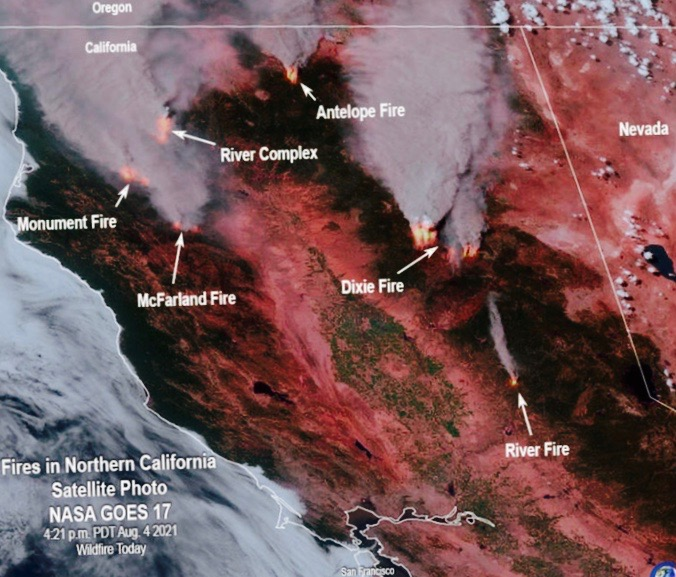 A NASA map of the the Caldor fire. Fires like these have caused mass destruction across California.
