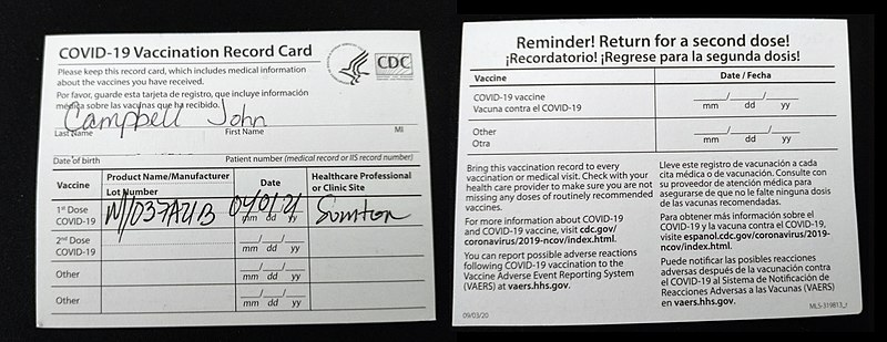 Everyone who receives the vaccine is given proof of vaccination. Those who get the COVID-19 vaccine do not have to be tested weekly.