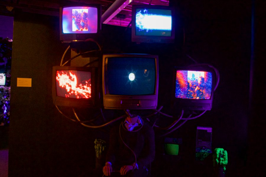 """The Museum of Future Present is made up of 17 different installations. This installation is titled """"Track 8: TV Eye of the Beholder - Strangeloop. It is produced by Eye Contakt and Strangeloop."""